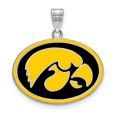 Iowa Hawkeyes Sterling Silver Enamel Pendant | Logo Art | LGASS505UIA