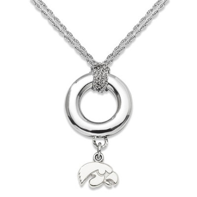 Iowa Hawkeyes Sterling Silver Sterling Silver Halo Necklace | Logo Art | LGAUIA001HALO-SS