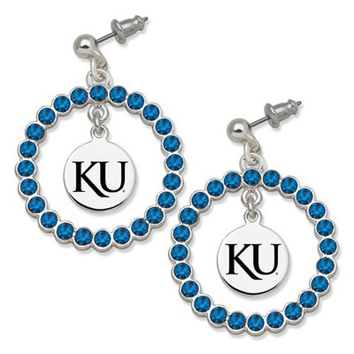 Kansas Jayhawks Spirit Crystal Logo Wreath Earrings | Logo Art | UKS067ER-CR