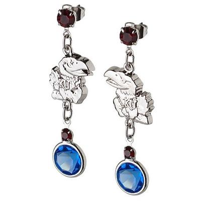 Kansas Jayhawks Crystal Logo Earrings | Logo Art | UGA065ER-CR