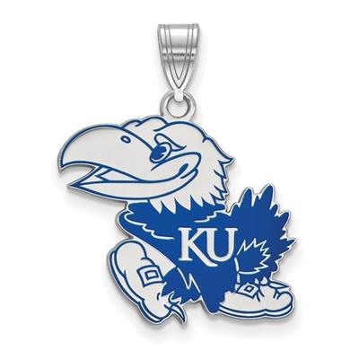 Kansas Jayhawks Sterling Silver Enamel Pendant | Logo Art | LGASS028UKS