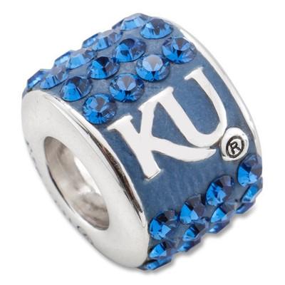 Kansas Jayhawks Sterling Silver Bracelet Bead Charm | Logo Art | UKS070CHM-SS