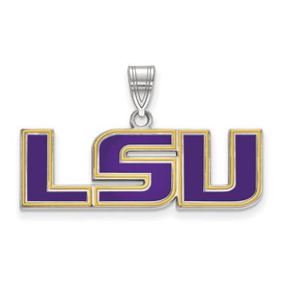 LSU Tigers Enamel Sterling Silver Pendant | Logo Art | SS087LSU