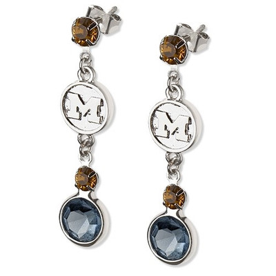 Michigan Wolverines Crystal Logo Earrings | Logo Art | UM065ER-CR