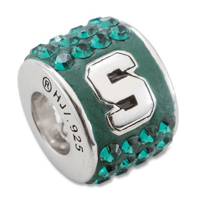 MSU Spartans Sterling Silver Bracelet Bead Charm | Logo Art | LGAMIS070CHM-SS