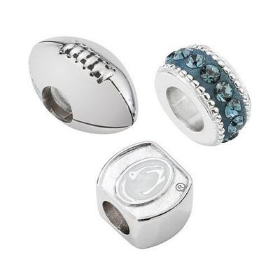 Penn State Nittany Lions Sterling Silver 3 Piece Bracelet Charms | Logo Art | PSU3BDFOOT-SS