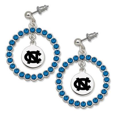 UNC Tar Heels Spirit Crystal Logo Wreath Earrings | Logo Art | UNC067ER-CR