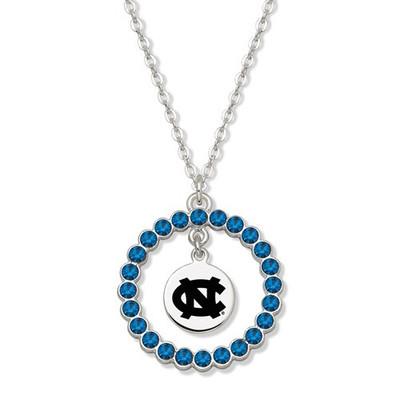 UNC Tar Heels Spirit Crystal Logo Wreath Necklace | Logo Art | UNC067N-CR