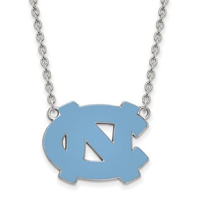 UNC Tar Heels Sterling Silver Circle Pendant Necklace | Logo Art | SS016UNC-18