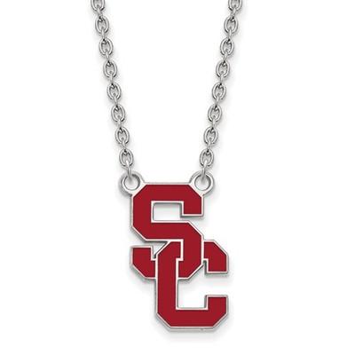 USC Trojans Sterling Silver Enamel Pendant Necklace | Logo Art | SS016USC-18