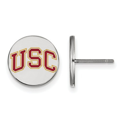USC Trojans Sterling Silver Disc Post Earrings | Logo Art | SS055USC