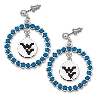 WV Mountaineers Spirit Crystal Logo Wreath Earrings | Logo Art | WVU067ER-CR