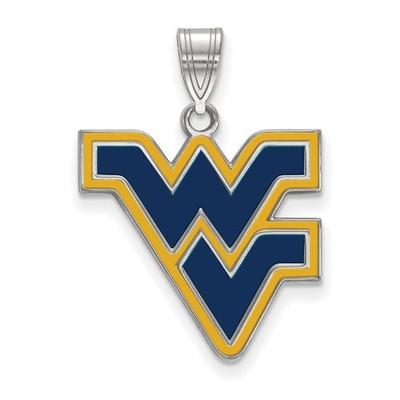 WV Mountaineers Sterling Silver Enamel Pendant | Logo Art | SS032WVU