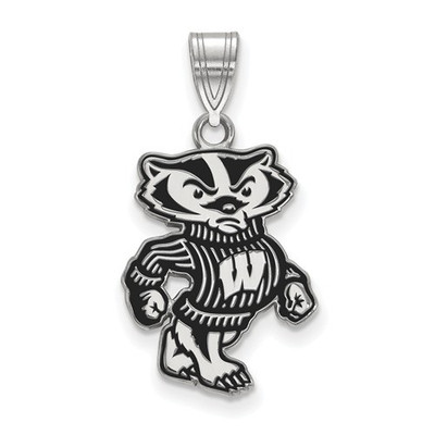 Wisconsin Badgers Sterling Silver Enamel Pendant | Logo Art | SS096UWI
