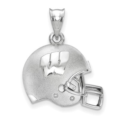 Wisconsin Badgers Sterling Silver 3D Football Helmet Pendant | Logo Art | SS505UWI