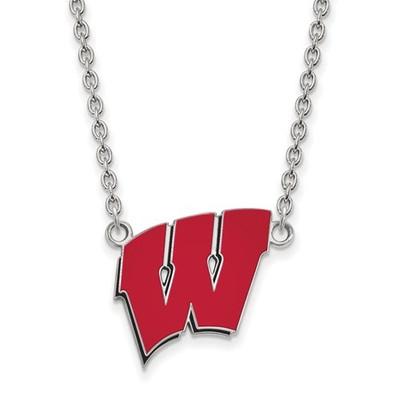 Wisconsin Badgers Sterling Silver Enamel Pendant Necklace | Logo Art | SS094UWI-18