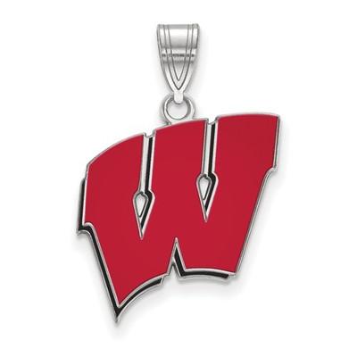 Wisconsin Badgers W Sterling Silver Enamel Pendant | Logo Art | SS032UWI