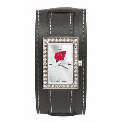 Wisconsin Badgers Women's Starlette Black Wide Band Watch | Logo Art | UWI121