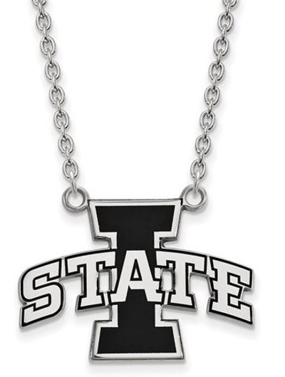 Iowa State Cyclones Sterling Silver Large Enamel Pendant Necklace | Logo Art | SS045IAS-18