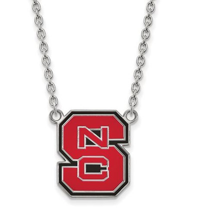 NC State Wolfpack Sterling Silver Large Enamel Pendant Necklace | Logo Art | SS081NCS-18