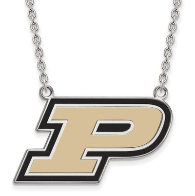Purdue Boilermakers Sterling Silver Large Enamel Pendant Necklace | Logo Art | SS016PU-18