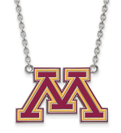 Minnesota Golden Gophers Sterling Silver Large Enamel Pendant Necklace | Logo Art | SS032UMN-18