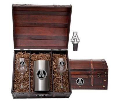 Appalachian State Mountaineers Wine Chest Set   Heritage Pewter   WSC10325EK