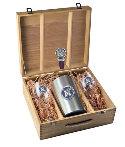 Memphis Tigers Wine Box Set | Heritage Pewter | WSB10320EB