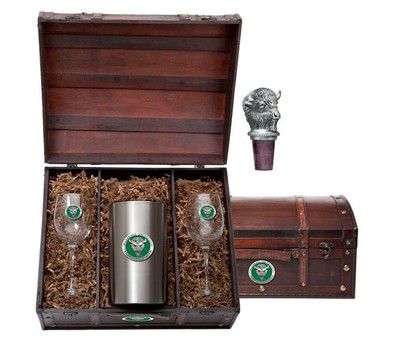 Marshall Thundering Herd Wine Chest Set | Heritage Pewter | WSC10243EG