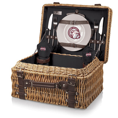 Mississippi St. Bulldogs Champion Picnic Basket - Black | Picnic Time | 208-40-179-384-0