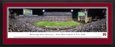 Mississippi St. Bulldogs Panoramic Photo Deluxe Matted Frame - 50 Yard Line | Blakeway | MSSU2D