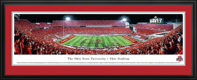 Ohio State Buckeyes Panoramic Photo Deluxe Matted Frame - 50 Yard Line | Blakeway | OSU2D