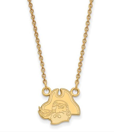 East Carolina Pirates Sterling Silver Gold Plated Sm Pendant Necklace | Logo Art | GP048ECU-18