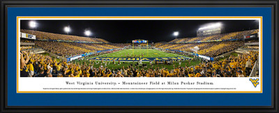 West Virginia Mountaineers Panoramic Photo Deluxe Matted Frame - End Zone | Blakeway | WVU4D
