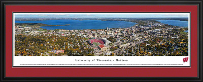 Wisconsin Badgers Panoramic Photo Deluxe Matted Frame - Aerial View | Blakeway | UWI6D