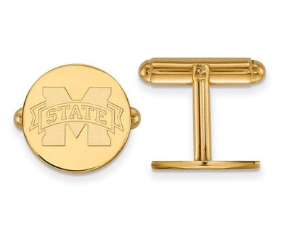 Mississippi State University Sterling Silver Gold Plated Cuff Links | Logo Art | GP012MSS