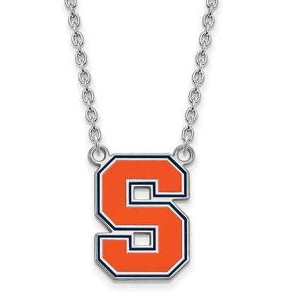 Syracuse University Sterling Silver Large Enameled Pendant Necklace   Logo Art   SS051SYU-18