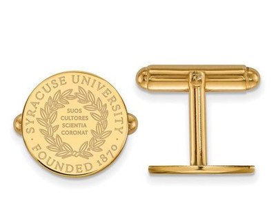 Syracuse University Sterling Silver Gold Plated Crest Cuff Links | Logo Art | GP041SYU