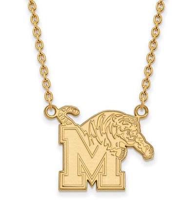 Memphis Tigers Sterling Silver Gold Plated Large Pendant Necklace | Logo Art | GP012UMP-18