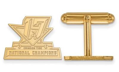 2017 National Champions Alabama Crimson Tide Sterling Silver Gold Plated Crest Cufflinks   Logo Art   GP007CFA17