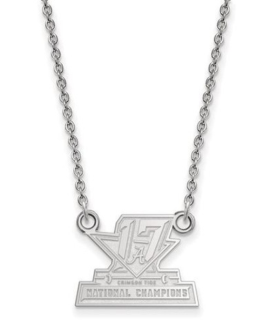 2017 National Champions Alabama Crimson Tide Sterling Silver Small Pendant Necklace | Logo Art | SS008CFA17-18