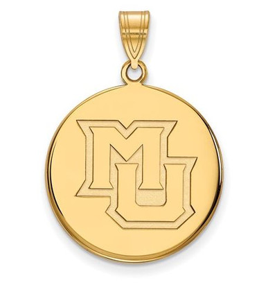 Marquette University 10k Yellow Gold Large Disc Pendant | Logo Art | 1Y024MAR