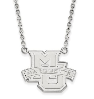 Marquette University 10k White Gold Large Pendant Necklace | Logo Art | 1W008MAR-18