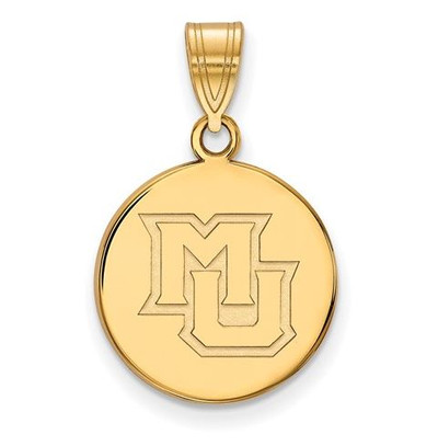 Marquette University 14k Yellow Gold Medium Disc Pendant | Logo Art | 4Y022MAR