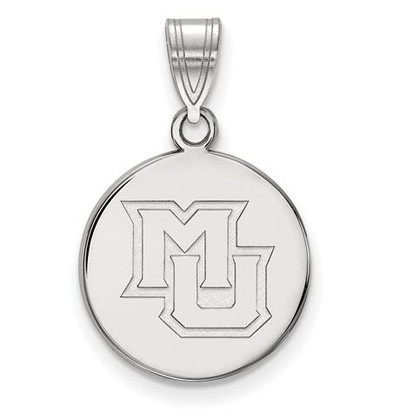 Marquette University 14k White Gold Medium Disc Pendant | Logo Art | 1Y024MAR