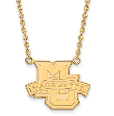 Marquette University 14k Yellow Gold Large Pendant Necklace | Logo Art | 1W008MAR-18