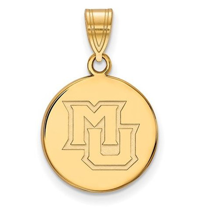 Marquette University Sterling Silver Gold Plated Medium Disc Pendant | Logo Art | GP022MAR