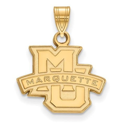 Marquette University Golden Eagles Sterling Silver Gold Plated Small Pendant | Logo Art | GP002MAR