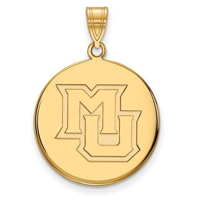Marquette University Sterling Silver Gold Plated Large Disc Pendant | Logo Art | 1Y024MAR