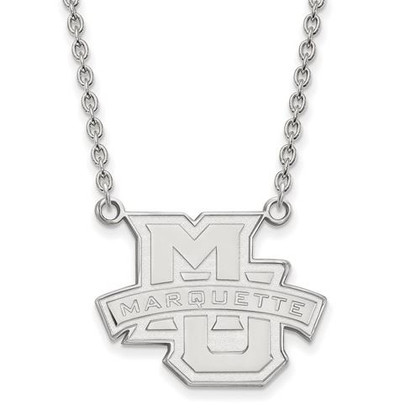 Marquette University 14k White Gold Large Pendant Necklace | Logo Art | 1W008MAR-18